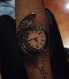 Hyperrealism Pocket Watch Tattoo by Alex Bruz