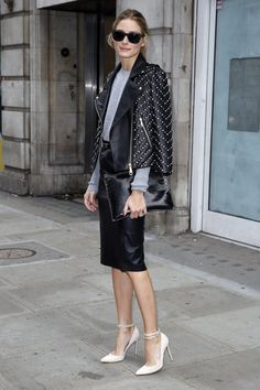 Olivia's feminine pumps and studded moto jacket offered the perfect | 54 Times Olivia Palermo Made Us Hate Our Outfits | POPSUGAR Fashion Photo 17