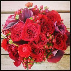 Red Bridal Bouquet by Fleurt Floral Art @bellefleure #flowers