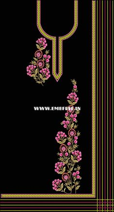Embroidery Designs Free Download, Border Embroidery Designs, Embroidery On Kurtis, Kurti Embroidery Design, Hand Embroidery Projects, Hand Embroidery Dress, Floral Embroidery Patterns, Embroidery Fashion, Latest Embroidery Designs