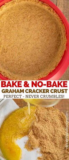 Graham Cracker Crust is quick and easy, made with ONLY 3 ingredients and ready in under 20 minutes!  #easy #nobake #recipe #pie #dessert #pie #cheesecake #grahamcracker #dinnerthendessert