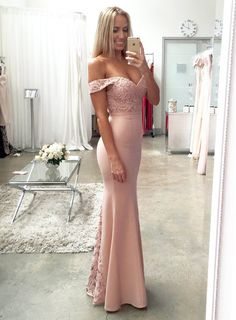 Nude Jersey and lace off the shoulder Mermaid Prom Dresses,Long Brides – BohoProm