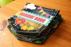 Always love different ideas for photobooks - but who would have thought of jean pockets.  What a way to recycle!