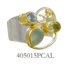 Peruvian Calcite, Baby Blue Topaz and Lemon Quartz ring  - Eucalyptus Island Collection