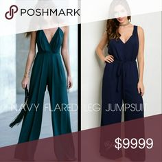 COMING SOON Totally chic flared leg navy jumpsuit. V shaped neckline. Ties at waist. 100%Polyester. More details to come!  Sizes available: S M l  LIKE TO BE NOTIFIED or COMMENT BELOW Pants Jumpsuits & Rompers