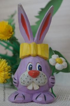 Wooden Easter Bunny with a flower Carved Eggs, Hand Carved, Wooden Figurines, Wooden Animals, Acrylic Colors, Wood Carving, Easter Bunny, Pet Birds, Wood Art