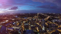 Tampa, Florida at Dusk on a August evening, shot by Tampa Aerial Photographer http://celebrationsoftampabay.com/aerial-video-tampa/
