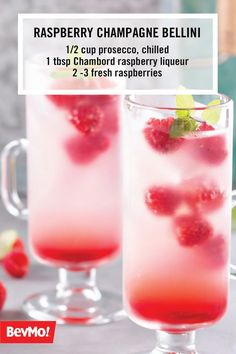 One sip of this Raspberry Champagne Bellini recipe and you can be sure that this cocktail is the perfect drink for spring. All you'll need to serve this fruity cocktail to your friends is prosecco, Chambord raspberry liqueur, and fresh raspberries. Who knew it could be so easy?