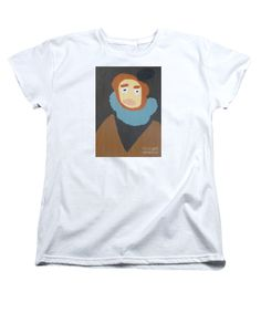 Patrick Francis Women's White Designer T-Shirt featuring the painting Portrait Of Maria Anna 2015 - After Diego Velazquez by Patrick Francis
