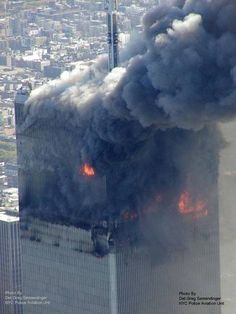 The North Tower Engulfed in Flame