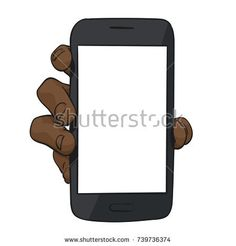 Sketch of black afro hand showing mockup smartphone, Template for advertising banner, Hand drawn vector colored line art illustration isolated on white background