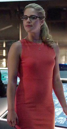 Felicity's orange cutout back dress on Arrow.  Outfit Details: http://wornontv.net/37970/ #Arrow