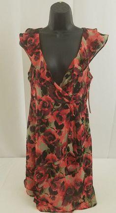 NWT ELLE Women's Red Black Cap Sleeve Transparent Dress Sz S NEW Retail $54 #ELLE #BlouseBlouson #Casual