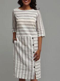 Stripe Buttons Half Sleeve Above Knee Shift Dress # linnen kleding patronen Dress Outfits, Fashion Dresses, Women's Fashion, Shift Dress Outfit, Striped Dress Outfit, Fashion Online, Striped Linen, Mode Vintage, Linen Dresses