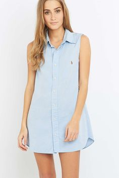 Urban Renewal Vintage Re-Made Sky Blue Oxford Shirt Dress