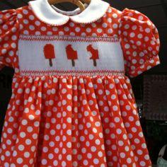 English smocked basic yoke dress with orange cream sickles in a size 2.