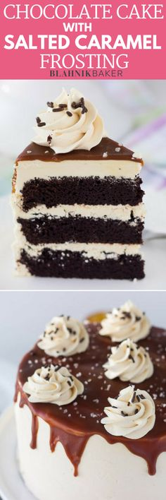 A decadent chocolate cake with salted caramel frosting combines indulgent chocolate cake recipe and a sweet and salty frosting. Ingredients For Chocolate Cake, Decadent Chocolate Cake, Decadent Cakes, Chocolate Desserts, Salted Caramel Frosting, Salted Caramels, Cake Frosting Designs, Cake Recipes, Dessert Recipes