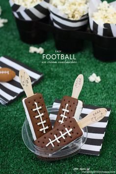 Easy football ice cream sandwiches, perfect for a Super Bowl party!