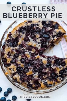 The easiest crustless blueberry pie. No messing with dough! This is a quick dessert for company and can be made gluten free. Gluten Free Desserts, Easy Desserts, Delicious Desserts, Yummy Food, Blueberry Pie Recipes, Gluten Free Blueberry, Healthy Blueberry Desserts, Blueberry Cobbler, Pie Dessert