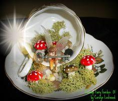 handmade teacup fairy garden by Carolyn Lockwood, Hebron, OH