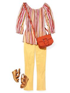 Colorful Pants  CITRUS SPLASH    Lemony capris and a striped cotton tunic have Saturday ease.    Read more: Colored Pants for Women - How to Wear Colored Pants - Good Housekeeping