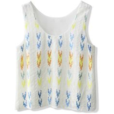 8bc6de3d5ccb2 Chicwish Aztec Sequins Embellished Tank Top in White (35 CAD) ❤ liked on  Polyvore