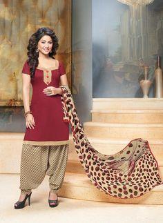 Hina Khan Maroon Cotton Punjabi Suit 64007                                                                                                                                                      More