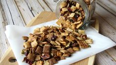 Pumpkin Harvest Chex mix -- Enjoy all the flavors of fall, wrapped up in one crunchy, slow-cooker treat! Chex Party Mix Recipe, Chex Mix Recipes, Snack Recipes, Potluck Recipes, Appetizer Recipes, Pumpkin Recipes, Fall Recipes, Holiday Recipes, Holiday Treats
