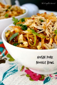 Hoisin Pork Noodle Bowls - Slow cooked pork that has been shredded and tossed with stir-fried rice noodles and veggies in a hoisin-peanut sauce. One of the best things about being food blogger is t...