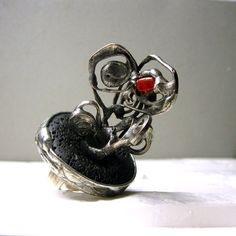 Volcano of Passion Volcanic Lava Sterling Silver by AMWgallery