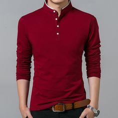 Liseaven T-Shirt Men Cotton T Shirt Full Sleeve tshirt Men Solid Color T-shirts tops&tees Mandarin Collar Long Shirt-ivroe Camisa Polo, Casual Shirts For Men, Men Casual, Casual Wear, Casual Pants, Spring T Shirts, Polo T Shirts, Cotton Shirts, Mandarin Collar