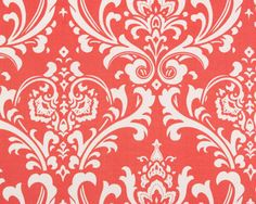 Ozborne Coral / White, Home Decor Fabric, Premier Prints, Half Yard, 1/2 Yard. $5.00, via Etsy.