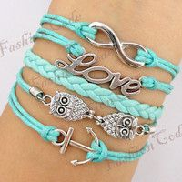 Infinity Love Owls & Anchor Charm ..LOVE