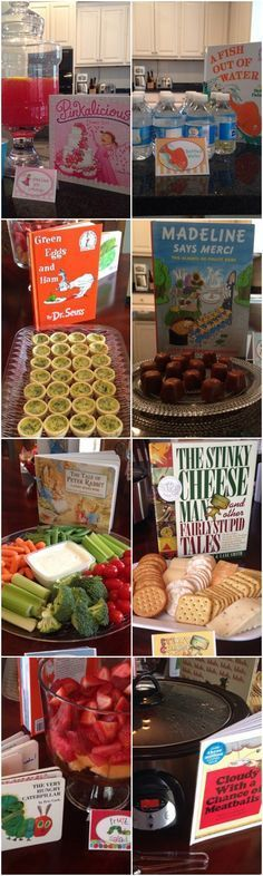 A Storybook Theme Baby Shower - so many cute children's book & food pairing ideas! ♥ Baby Shower Ideas Books, Library Baby Shower Theme, Baby Book Shower, Book Baby Showers, Themed Baby Showers, Baby Shower Green, Baby Shower Themes Neutral, Baby Shower Snacks, Baby Shower Menu