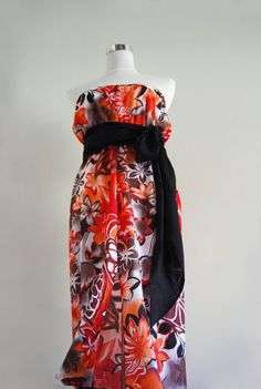 Tropical Maxi Dress- Strapless- Empire waist Gown- Colorful Clothing by MixeDesigns, €55.00