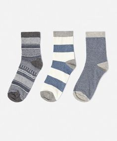3-pack short geometric print socks - OYSHO