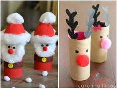 Crafts with cardboard rolls for Christmas Christmas Animals, Christmas Cards, Xmas, Christmas Ornaments, Cardboard Rolls, Cardboard Crafts, Paper Decorations, Christmas Decorations, Cupcakes Lindos