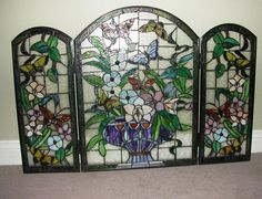 Artistic Stained Glass Fireplace Screen Keeping Interior Glorious ...