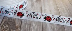 "Love bug ribbon - Lady bug ribbon - 7/8"" -  3-5 yards - Red and black  - DIY lady bug bow - Hearts ribbon - Valentine ribbon - Baby shower"