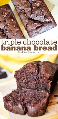 10 Most Misleading Foods That We Imagined Were Being Nutritious! Triple Chocolate Banana Bread Moist, Fudgy, And Loaded With Three Kinds Of Chocolate, Making This Banana Bread Recipe A Mouthwatering, Delicious Way To Use Up Overripe Bananas Chocolate Bread Recipe, Chocolate Chip Banana Bread, Chocolate Chip Recipes, Banana Bread Brownies, Moist Banana Bread, Easy Bread Recipes, Banana Bread Recipes, Overripe Banana Recipes, Homemade Banana Bread