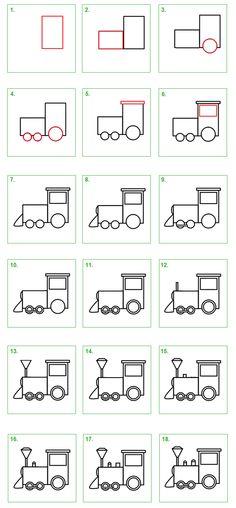 Trein. Leer stap voor stap hoe je zelf een trein kunt tekenen. #tekenen…