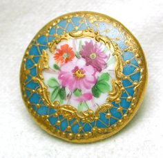 Antique Porcelain Button Hand Painted Flowers w Turquoise Deluxe Gilt Border | eBay