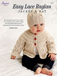 Easy Lace Raglan Jacket   Hat Knit Pattern Baby Cardigan 1b95ca22796e