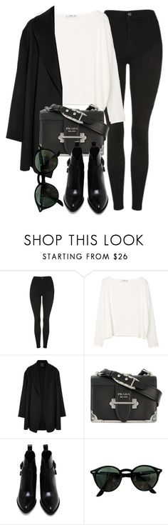 """Untitled #7108"" by laurenmboot ❤ liked on Polyvore featuring Topshop, MANGO, Agnona, Prada, Alexander Wang and Ray-Ban"