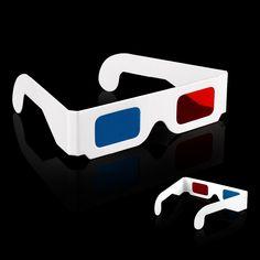 50 pcs/LOT Paper 3D Glasses 3D virtual video rearview red blue anaglyph red / blue 3D glasses,  PA373
