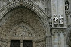Toledo Cathedral - Toledo, Spain.  Elaborately carved central west portal.