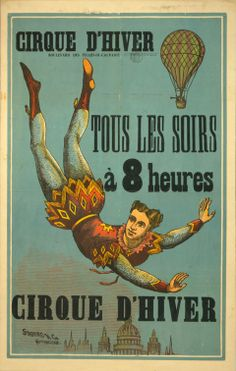 1880s Cirque D'Hiver French Circus Poster Aerial Acrobat.  Print: ... $19.95