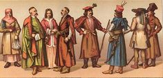 Left to Right: Lithuanian peasant woman; three noblemen; peasant from the environs of Krakow; nobleman; mountaineer from the Carpathians; pe...