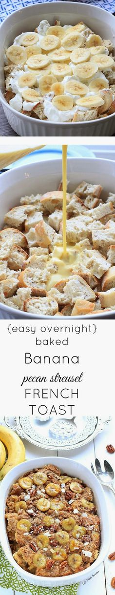 SKIP THE COCONUT! {Overnight} Banana Pecan Streusel French Toast Bake makes the best make-ahead breakfast with only 10 minutes of prep. Perfect when you have overnight guests. What's For Breakfast, Breakfast Items, Breakfast Dishes, Breakfast Recipes, Doce Banana, Baked Banana, French Toast Bake, Banana Recipes, Cupcakes