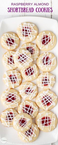 christmas baking Raspberry Almond Shortbread Thumbprint Cookies - a tender shortbread cookie packed with raspberry jam and topped with a simple almond flavored icing. Not just for the holidays, these are delicious cookies and a family favorite! Holiday Baking, Christmas Baking, Cupcakes, Raspberry Thumbprint Cookies, Raspberry Cookies, Cookie Exchange, Cookie Recipes, Dessert Recipes, Galletas Cookies